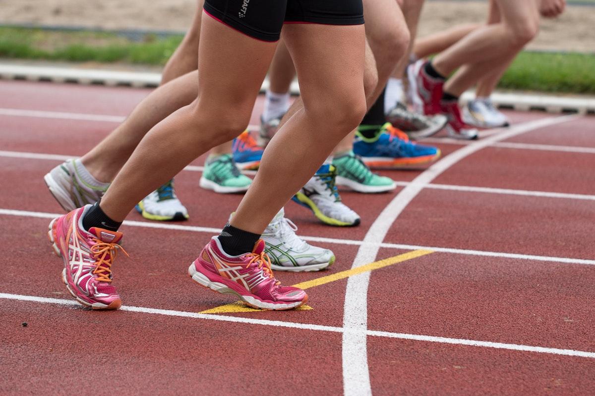 Läufer im Zieleinlauf